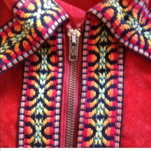 Vtg 60s-70's Red Velvet Southwestern Indian Cape M